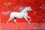 cheval blanc sur fond rouge et esquisses pastel