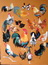 Pastel coqs et poules sur panneau